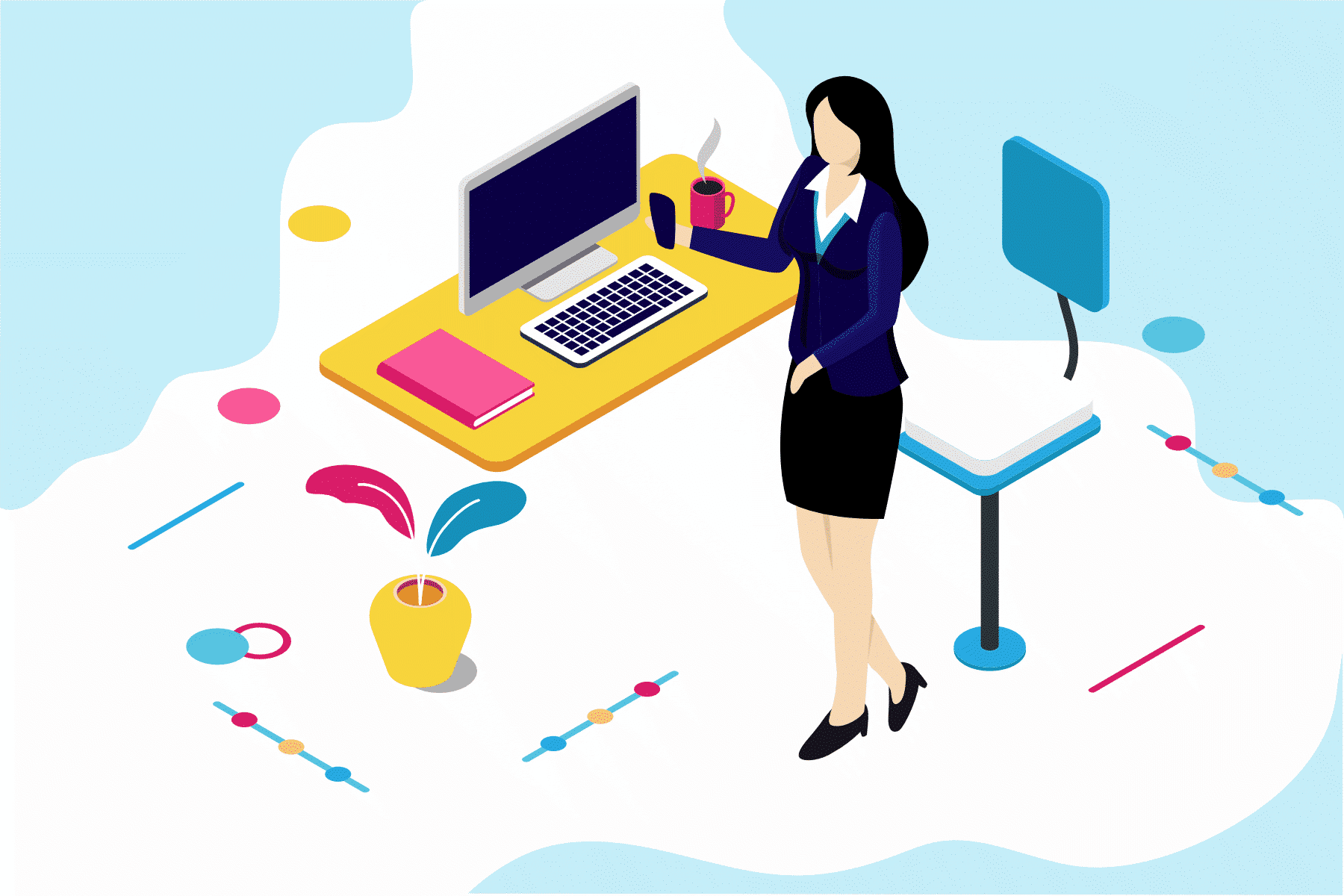illustration of woman business owner