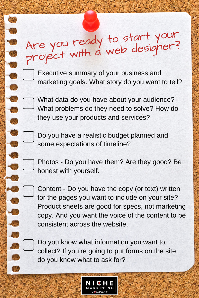 Ready to start your project with a web designer checklist